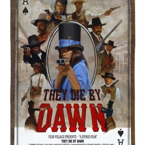 "The theatrical poster from Jeymes Samuel' short film ""They Die by Dawn"" starring Rosario Dawson and Giancarlo Esposito"